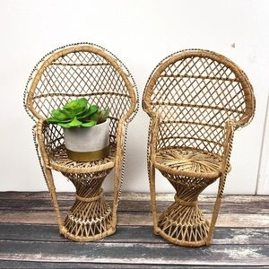 Vintage Peacock Chair Wicker Rattan Plant Stands